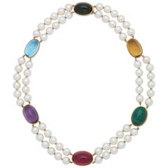 1950s Double Strand Pearls with Cabochon Multicolored Stones Choker Necklace