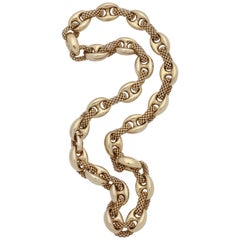 1960s Intertwined Two Textured Box Link and High Polish Gold Link Chain Necklace