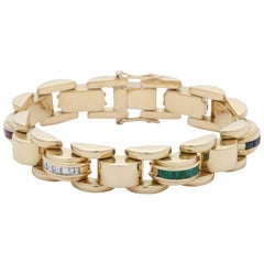1940s Ruby, Emerald Sapphire with Square Cut Diamonds Flexible Link Bracelet