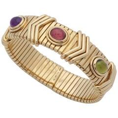 Bvlgari 1970s Cabochon Pink Tourmaline, Peridot and Amethyst Gold Cuff Bracelet