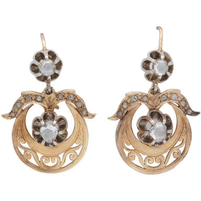 Victorian Hinged, Moveable Rose Cuts and Gold Hanging Pierced Pendant Earrings