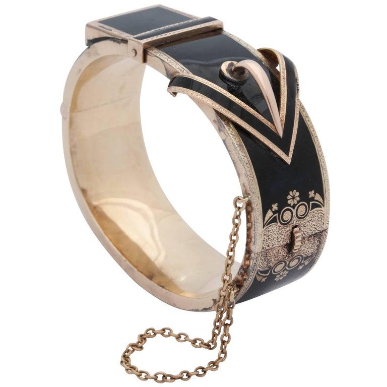 1880s Victorian Black Enamel Belt Buckle Design Gold Bangle Cuff Bracelet