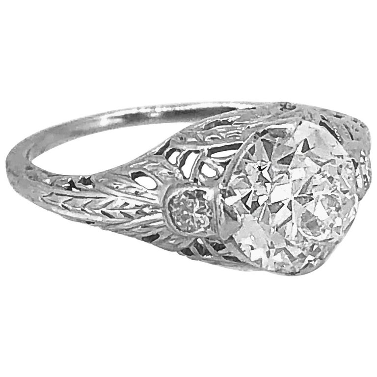1.60 Carat Diamond Antique Engagement Ring 18 Karat White Gold