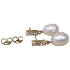18 Karat Rose Gold Freshwater Pearls and Diamond Earrings