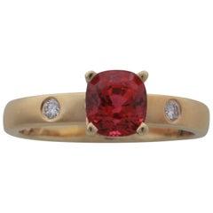 1.16 Carat Cushion Shape Pinkish Red Spinel and Diamond 14 Karat Gold Ring