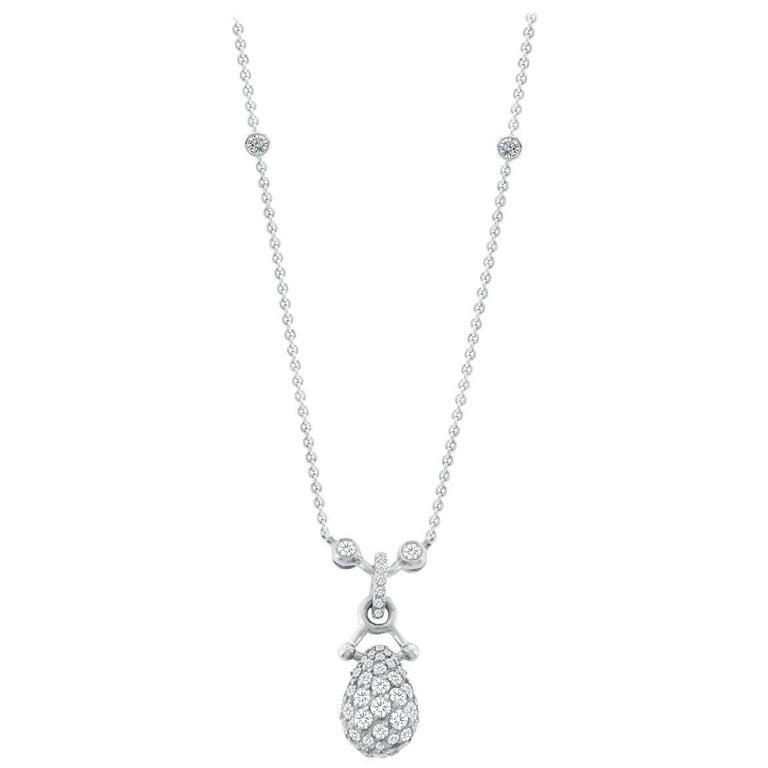 2.66 Carat Diamond Drop Necklace in 18 Karat White Gold with Palladium Alloy