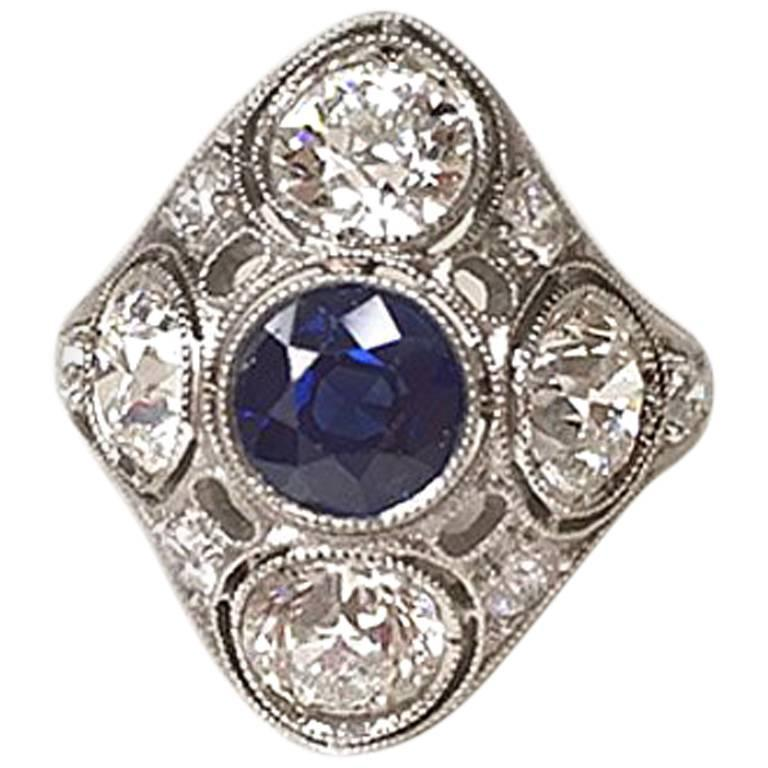 Art Deco 0.90ct Round Blue Sapphire and 2.08cts (approx.) Diamond Platinum Ring