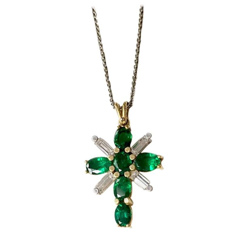 Platinum and 18 Karat Yellow Gold Emerald and Diamond Cross Pendant on Chain