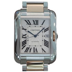 Cartier Rose Gold Tank Anglaise Extra Large Automatic Wristwatch