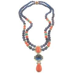 David Webb  Coral Emerald Diamond Amethyst Necklace