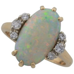 Crystal Opal and Diamond Ring Set in 14 Karat Yellow Gold