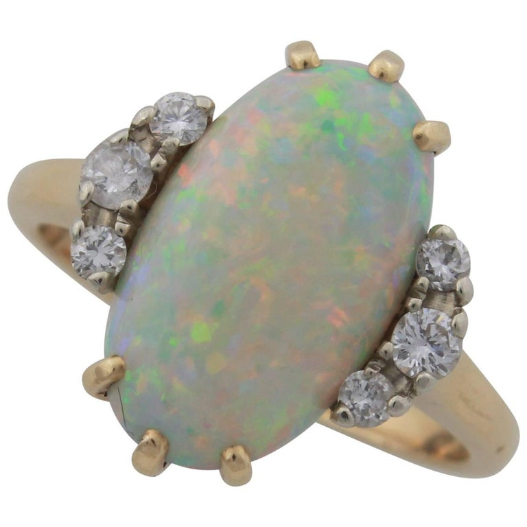 Crystal Opal and Diamond Ring Set in 14 Karat Yellow Gold