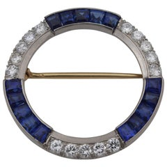 Tiffany & Co. Diamond Sapphire Palladium Brooch