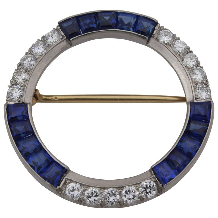 Tiffany & Co. Diamond Sapphire Palladium Brooch
