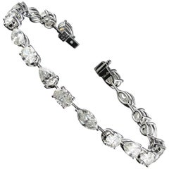 0.75 Carat Each GIA Certified F VS2 Fancy Shape Diamond Tennis Bracelet 14.25 ct