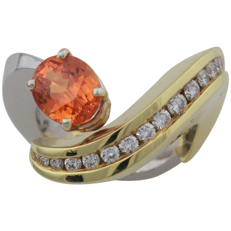 Eddie Sakamoto Designed Spessartite Garnet And Diamond Ring Set In Plat/18ktYG