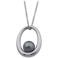 Mikimoto 18 Karat White Gold Tahitian Pearl Necklace