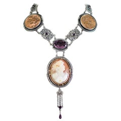Jill Garber Antique Goddess Cameo, Amethyst with French Medals Drop Necklace