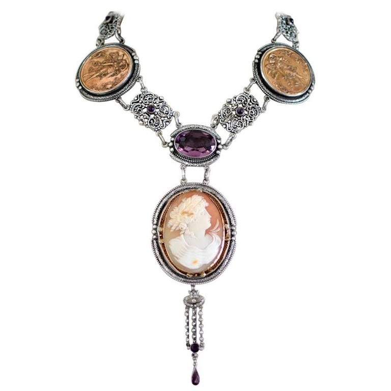 Jill Garber Antique Goddess Cameo, Amethyst with French Medals Drop Necklace For Sale