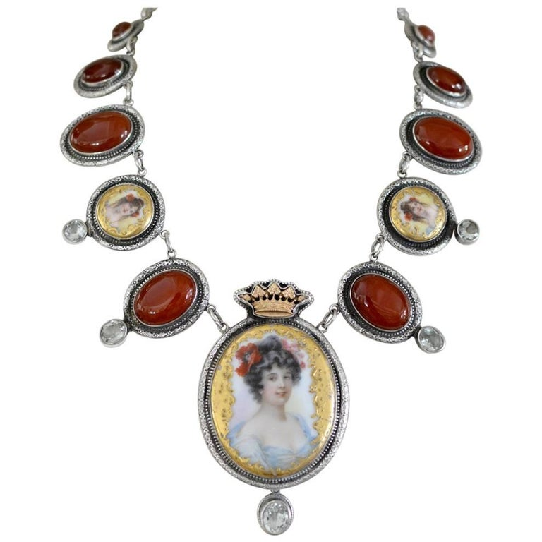 Jill Garber Art Nouveau Goddess Portrait Necklace with Carnelian and Prasiolite