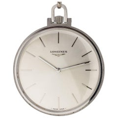 Longines Stainless Steel Dress Manual Wind Pocket Watch, circa 1960s