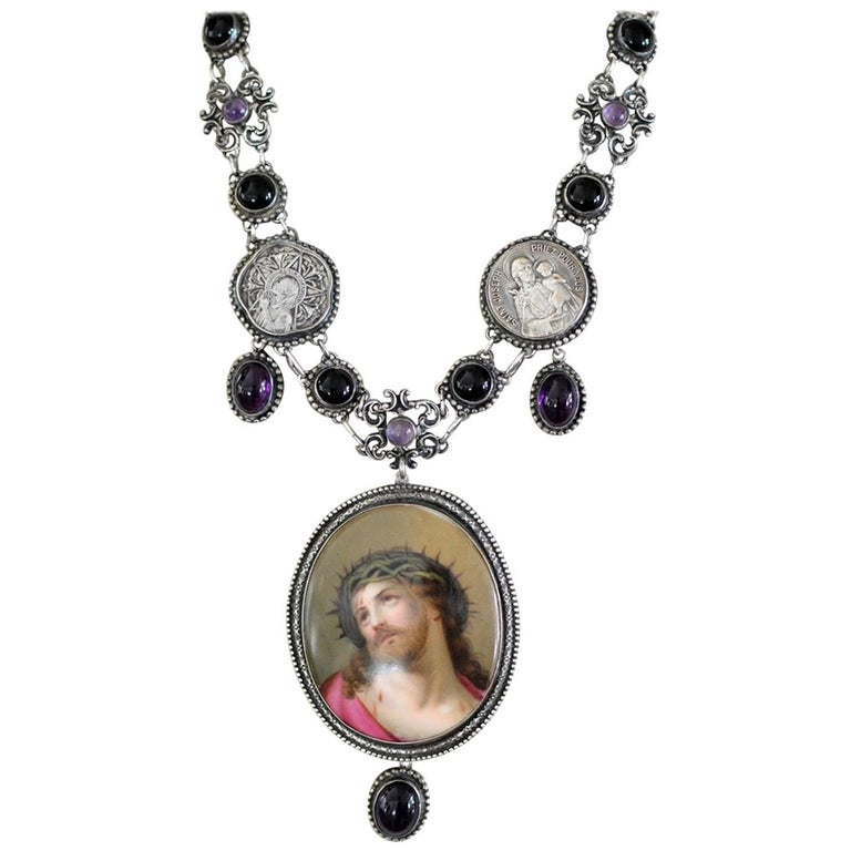 Jill Garber Sacred French Portrait of Christ, Amethyst and Onyx Festoon Necklace