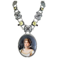 Jill Garber Queen Louise Porcelain Portrait, Lemon Quartz and Garnet Necklace
