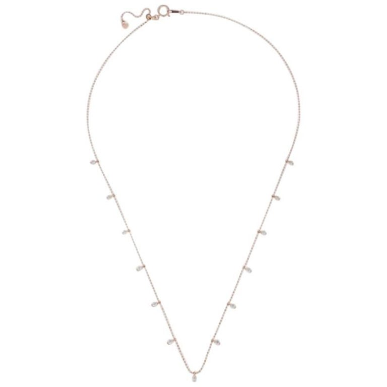 Beautiful Necklace Sarah Rose Gold Choker, Necklace, 18 Karat, 13 White Diamonds