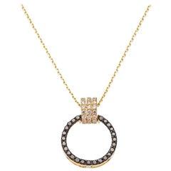 18 Karat Yellow Gold White and Black diamonds 0.12 carat Pendant Necklace