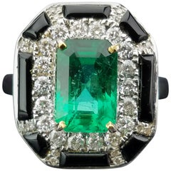 2.29 Carat Emerald, Enamel and Diamond Cocktail Ring