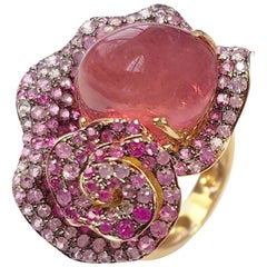 Fei Liu Rubellite Tourmaline Pink Sapphire 18 Karat Rose Gold Cocktail Ring