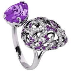 Fei Liu Purple Amethyst Filigree Egg double White Gold Ring