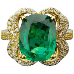 4.77 Carat Cushion Shaped Emerald and Diamond Cocktail Ring