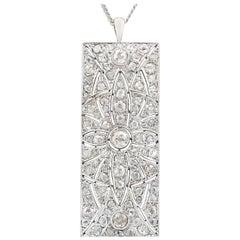 1900s Antique Art Deco 3.95 Carat Diamond and White Gold Pendant
