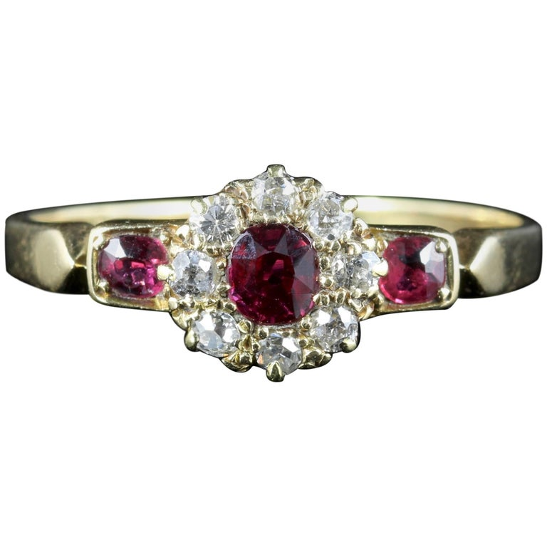 Antique Victorian Ruby Diamond Cluster Ring 18 Carat Gold, circa 1880