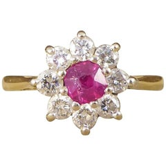Vintage Ruby and Diamond Flower Cluster Ring in 18 Carat Gold