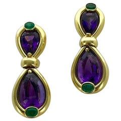 1980s French Verney Emerald Amethyst Yellow Gold Earrings Earclips
