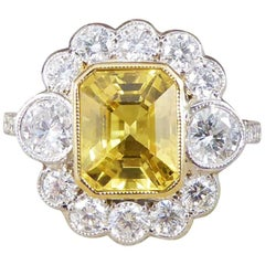 Yellow Sapphire 2.96 Carat and Diamond 18 Carat White Gold Cluster Ring