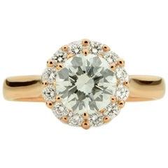 1.54 Carat, 18 Karat Rose Gold Round Brilliant Diamond Ring