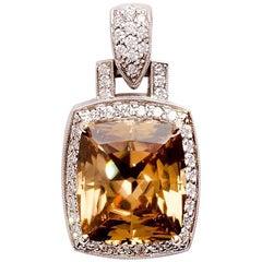 12.11 Carat Mocha Zircon with Diamonds, 14 Karat White Gold Pendant
