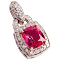 3.01 Carat Natural Pink Spinel and Diamond White Gold Pendant