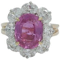 4.80 Carat Oscar Heyman Pink Sapphire and Diamond Ring F-G/VVS