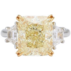 6 Carat GIA Certified Yellow Diamond Ring