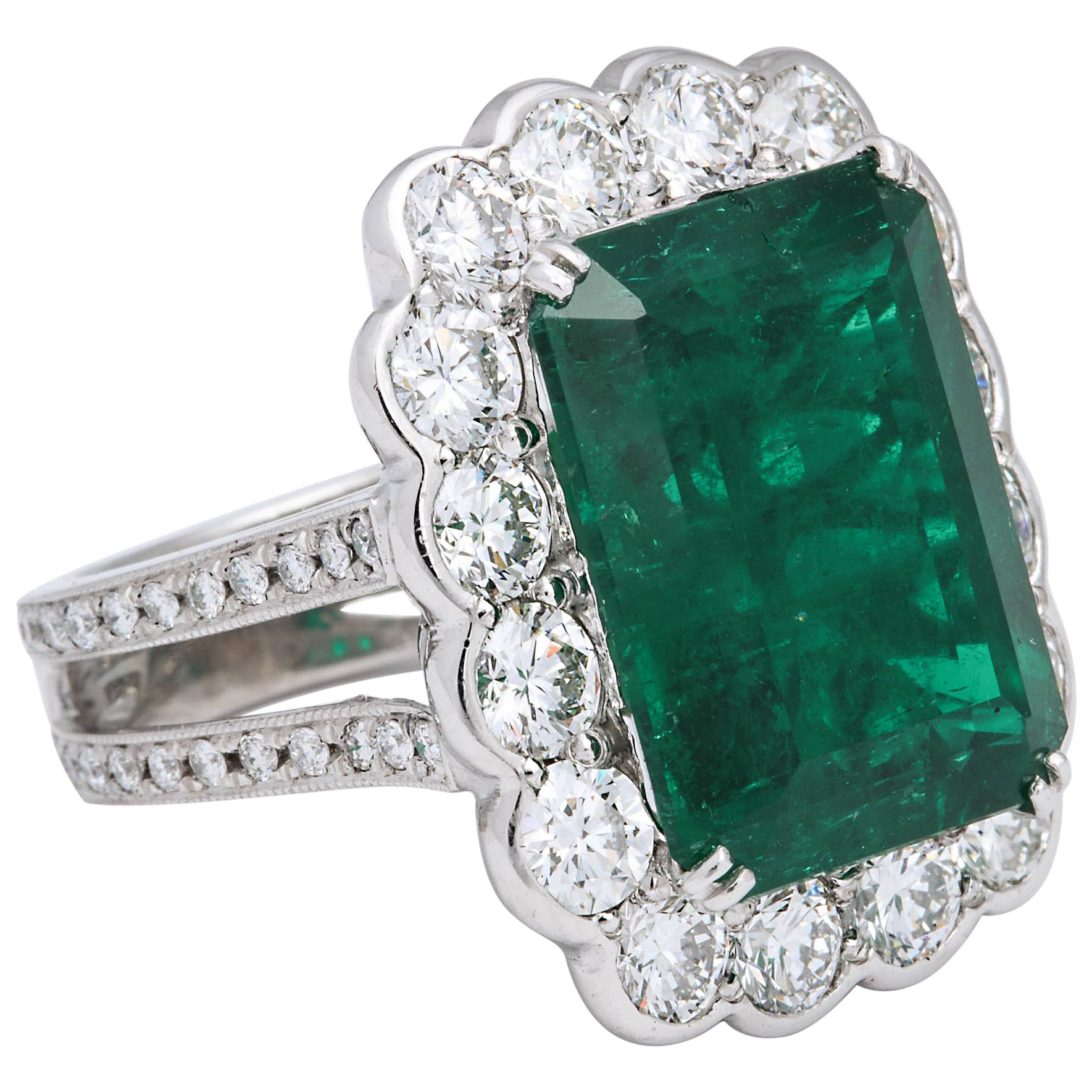 Important 13 Carat Colombian Emerald and Diamond Ring GIA Certified