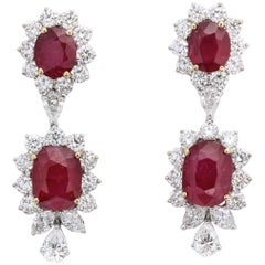 Ruby and Diamond Dangle Drop Earrings