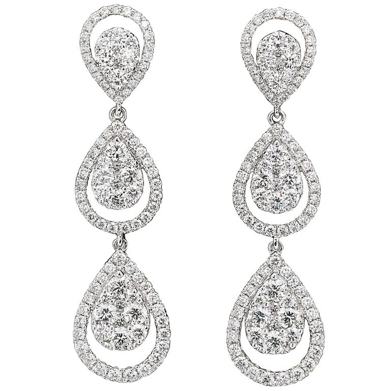 Diamond Dangle Drop Earrings For