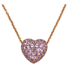 Rose Gold Pink Sapphire Heart Shaped Pendant Necklace