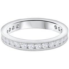 0.81 Carat Total Round Diamond Platinum Wedding Band