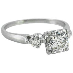1.00 Carat Diamond Antique Engagement Ring Platinum