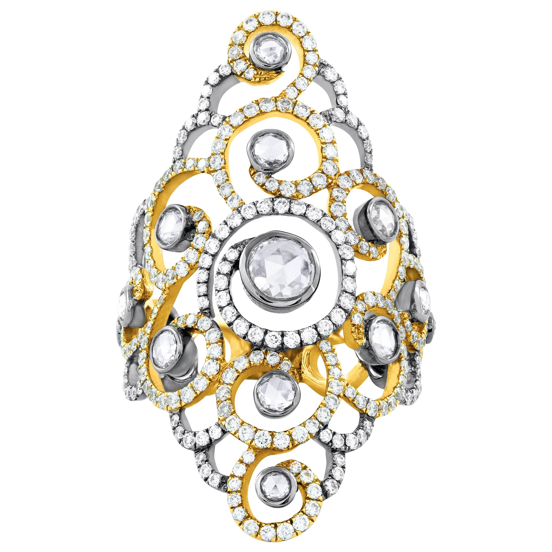 Rose Cut Diamond Open Work Fashion Ring